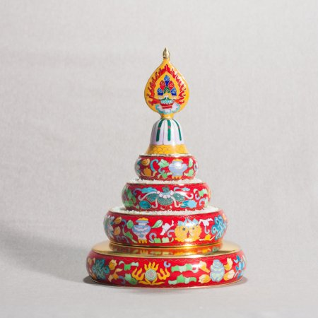 Medium Buddhist mandala set decorated with cloisonne, red color : buy from our Tibetan ritual goods collection — DharmaCraft
