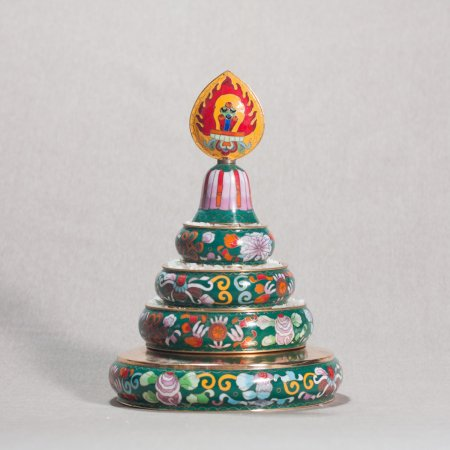 Medium Buddhist mandala set decorated with cloisonne, green color : buy from our Tibetan ritual goods collection — DharmaCraft