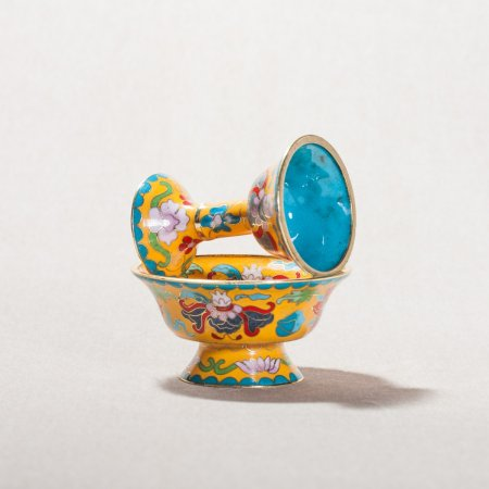 Buddhist cloisonne Serkyem offering set, tiny size, yellow color : buy from our Tibetan ritual goods collection — DharmaCraft