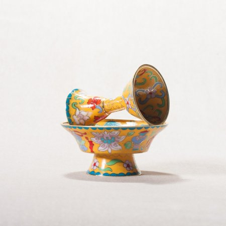 Buddhist cloisonne Serkyem offering set, small size, yellow color : buy from our Tibetan ritual goods collection — DharmaCraft