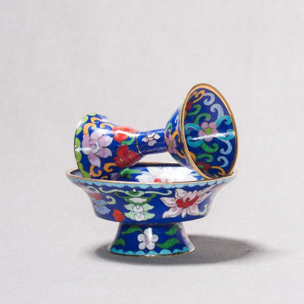 Buddhist cloisonne Serkyem offering set, small size, blue color : buy from our Tibetan ritual goods collection — DharmaCraft
