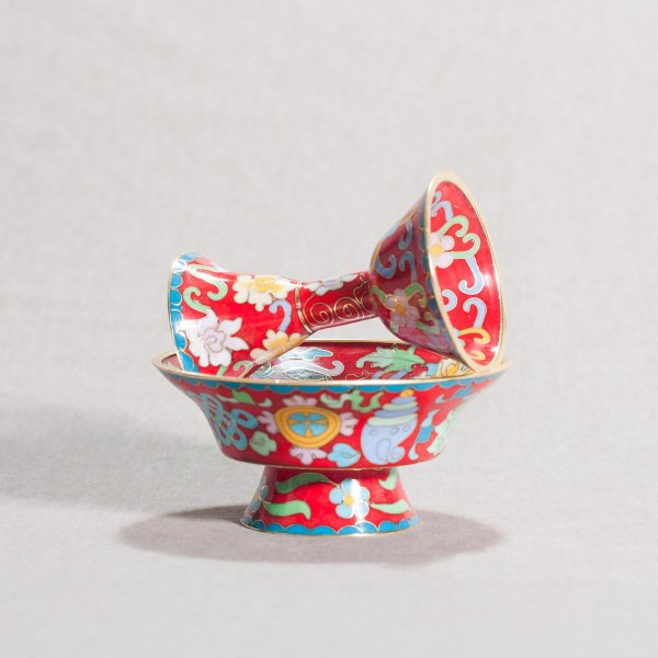 Buddhist cloisonne Serkyem offering set, small size, red color : buy from our Tibetan ritual goods collection — DharmaCraft