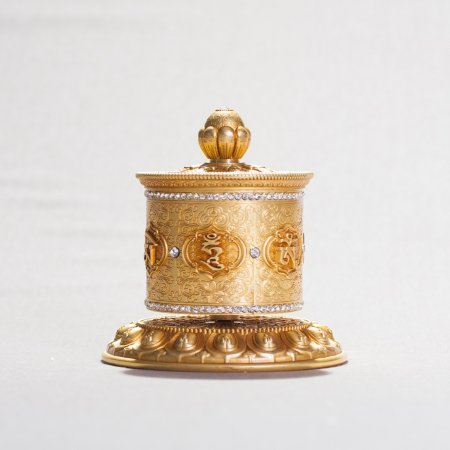 Elegantly looking Tibetan table Prayer Wheel : buy from our Buddhist accessories collection — DharmaCraft
